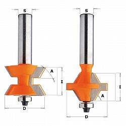 Комплект фрез  шип-паз для соединения под углом 60°