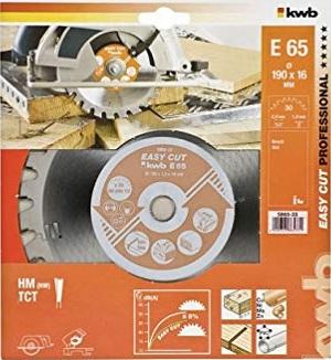 Пильный диск KWB E65 190x16x2,8x30z по дереву с гвоздями