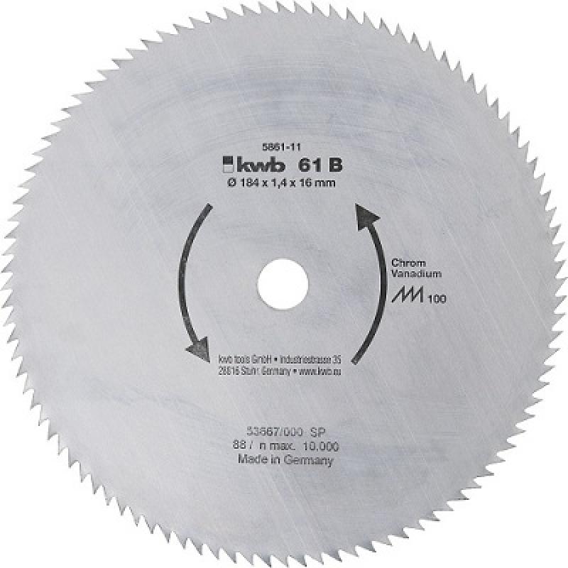 Пильный диск KWB B61 184x16x1,4x100z без напайки чистый рез