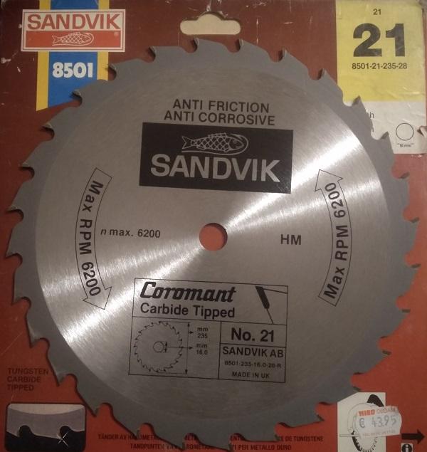 Пильный диск Sandvik 235x16x28z 8501-21-235-28